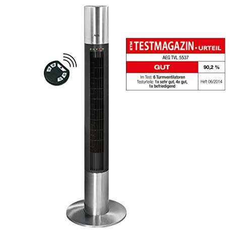 AEG T-VL 5537 Edelstahl-Säulenventilator, Höhe 120 cm, 3 Laufgeschwindigkeiten, elektronischer Timer (2,4,8 Stunden), inkl. Fernbedienung, Memoryfunktion,  LED-Kontrollleuchten