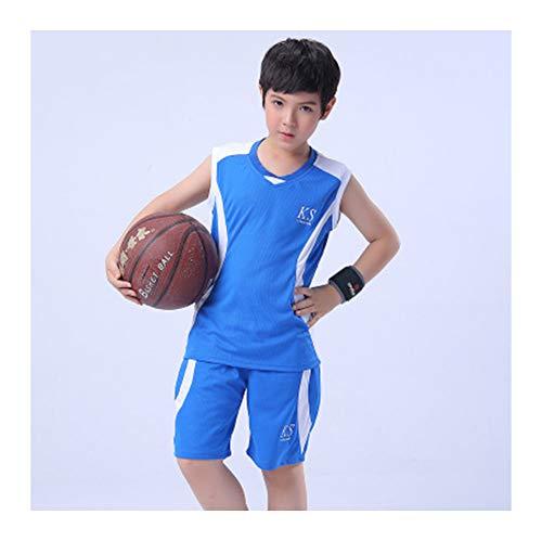 LZNK 2er Set NBI Jersey Vintage ärmellose Weste Boy Schnelltrocknendes Sportswear Set-blue-130 -