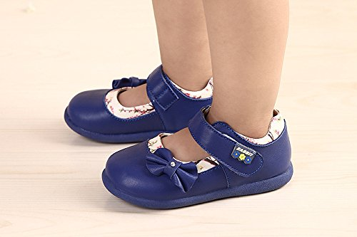 Oderola Mädchen Mary Jane Halbschuhe Leder Festschuhe Bowknot Anti-Rutsch weiches Sole Baby Ballerina Sandalen Blau