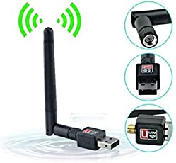 Generix USB WiFi Dongle Adapter with Antenna (Black)