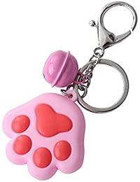96ce9d24fa734 Spaufu 1 x Schlüssel Kette Neuheit PVC Katze Pfote Form Bell Anhänger Auto Key  Ring Rucksack Handtasche Taschen Aufhängen Ornaments…