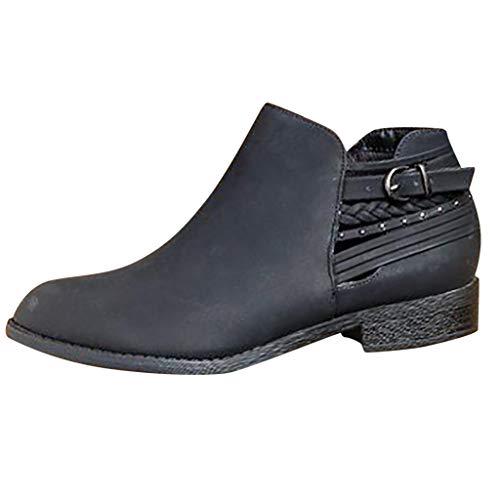 Stiefeletten Damen Sandalen Reitstiefel Blockabsatz Stiefel Schuhe Bequeme Retro Geschlossene Reissverschluss Boot Gummistiefel Kurzschaft Ankle Stiefeletten (EU:41, Schwarz)