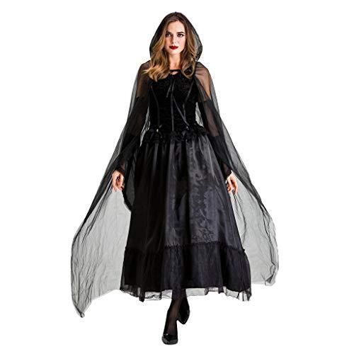 Schwarz Kostüm Braut - LOPILY Kostüme Damen Braut Spitzen Vampire Kostüme mit Spitze Schleier Schwarzes Maxi Kleid Fashingskostüme Halloween Kleid Damen Karneval Hexenkostüm Damen Gothic Erwachsenenkostüme (Schwarz, 40)