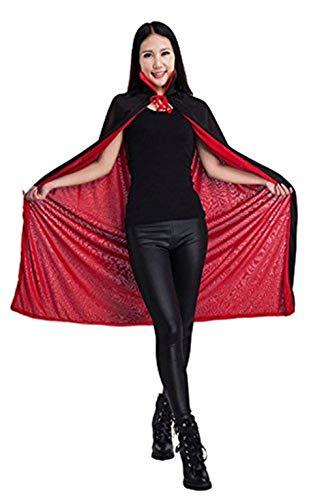 Halloween Umhang Schwarz und Rot halloween kleidung für Erwachsene Damen Herren Kinder Halloween Kostüm Unisex für Karneval Fasching Cosplay Halloween umhang aus Stoff horror mit Kragen 2 ()