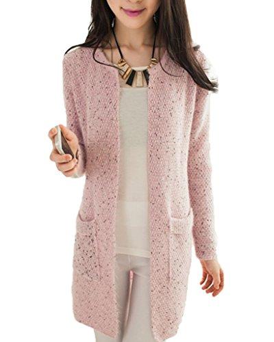 Minetom Donna Knit Cardigan Maniche Lunghe Jumper Outwear Maglia Jacket Sweatshirt Tops con Tasca Pink IT 42