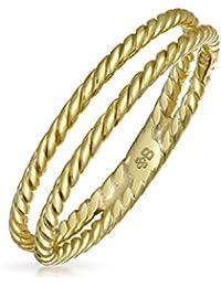 Bling Jewelry Chapado en oro 925 de doble hilera Twisted Anillo Midi Cable