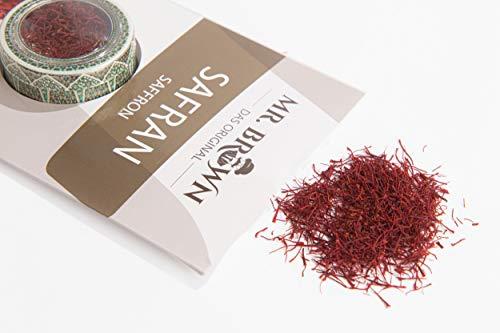 Mr. Brown Safranfäden 12 x 1 g | Spitzenkategorie 1 | Safranfäden in Premium Qualität | Safran zum Kochen, Backen und Aromatisieren | Gewürz | in einer schönen Box - ideal auch als Geschenk (12 GR) - Safran