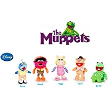 The Muppets (Los Teleñecos) - Pack 5 peluches Calidad super soft - Rana Gustavo 22cm + Cerdita Peggy 20cm + Gonzo 19cm+ El oso Fozzie 21cm + Animal 20cm