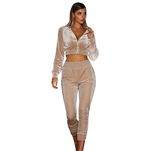 FORH Frauen Elegant Sweatshirt Hose Sets Chic velour zipper Bluse Sport Anzug mit sportlich Jogging Slim Hosen (S, Rosa)