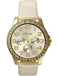 Oleva Premium Women's Leather Watch OPLW-14-WHITE