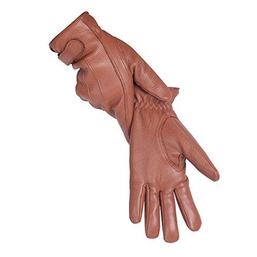 Yego Handschuhe aus Hirschleder, klassischer Stil, Winter, warm,für Damen & Herren, braun, M