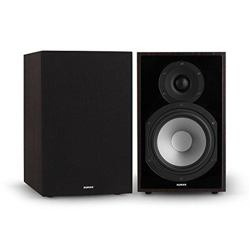 NUMAN Reference 802 • Regal-Lautsprecher • Lautsprecher-Boxen • HiFi-Boxen • Lautsprecher-Paar • high-end Boxen • 2-Wege-System • Spitzenleistung 120 Watt • 4 Ohm • schwarzes Cover • palisander