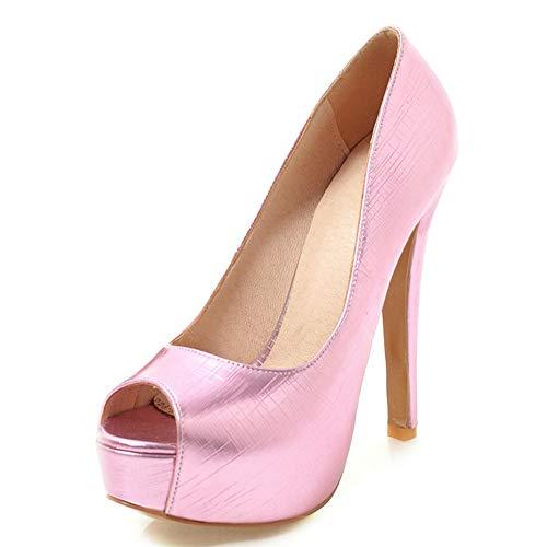 TXHLKD Peep Toe Dünne High Heels Pumps Frau Plateau Pumps Frau Hochzeit Schuhe Frauen Plus Größe 33-48 11 Rosa (Rosa Pumps Größe 11)
