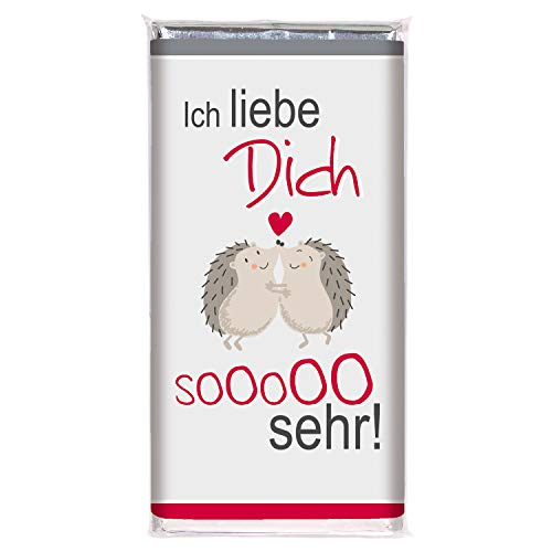 Schokolade LIEBE STEINBECK Vollmilch 100g Schokolade Tafel'Ich liebe Dich so sehr' Geschenk Valentinstag verliebt Herzen süß Mitgebsel Jahrestag