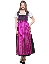 3be8dfd40b870e Dirndlspatz Dirndl lang Damen Set 3-TLG. Violetta in Violett Lila Schwarz  Gr 38 40 42 44 46 48 50 52 54 56 58 60 mit…