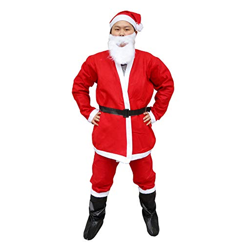 GLP Herren Santa Father Weihnachten bärtigen Kostüm Ball Kostüm Weihnachten Kleidung Set Luxus Luxus hohe Kostüm rot 5-7 Stück Set (Color : 5-Piece ()