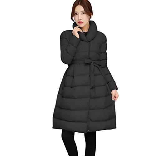 Winwintom Mode Hiver Chaud Womens Longue Veste Coton Ceinture Manteau Parka Épais Outwear Noir