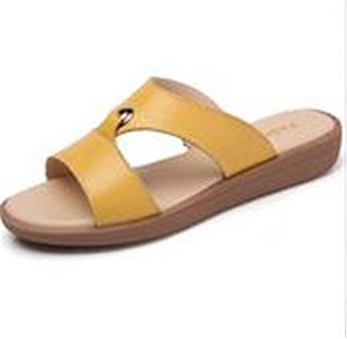 Boowhol Damen Lederschuhe Soft Sandalen Sommer Flache Sandalen Strand Flip-flops Gelb