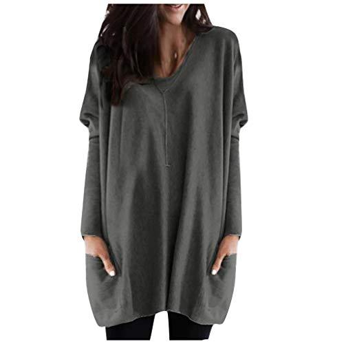 LUGOW Pullover Damen Einfarbig Übergröße Lose Blouses V-Ausschnitt Bluse Einfarbig Sweater Online Langarm T-Shirt Tops Sweatshirt Günstig Blusen Langarmshirts