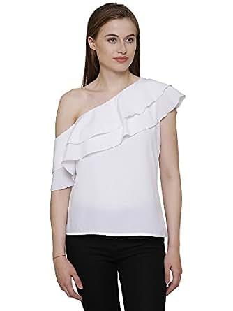 White Colour One Shoulder Ruffle Crepe women's Top