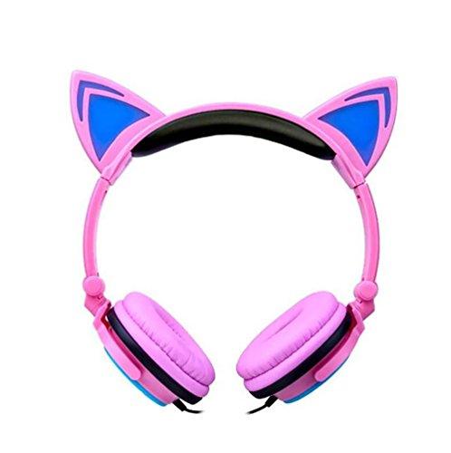 Galleria fotografica X-Super orecchie di gatto cuffie cuffie per bambini lampeggiare Glowing Cosplay Fancy Over-Ear Gaming Headset con luce LED per le ragazze, bambini