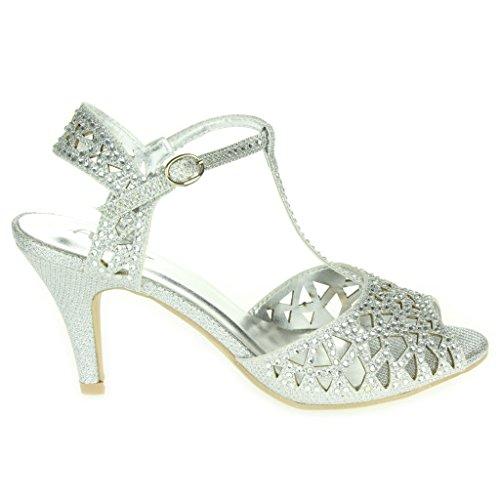 Femmes Dames Diamante Soir Mariage Fête Bal de promo T-Bar Peep Toe Milieu Talon Des sandales Chaussures Taille Argent