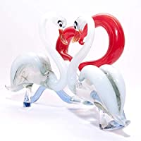 IK Style Glass Swan Couple Figurine Featuring Read Hearth - Versatile And Elegant Ornament - Hand Crafted From Color Glass - Unique and Stunning Decor Gift