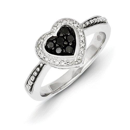 Sterling Silber und Schwarz Weißer Diamant Herz Ring Rough, Größe N 1/2, Blatt-Motiv