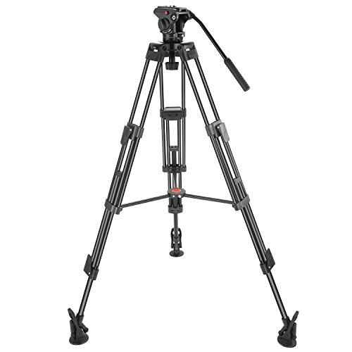 Neewer Dreibeinstativ Professionelle Schwerlast Videokamera Stativ 163cm Aluminiumlegierung mit 360 Grad Flüssigkeitskopf Zoll Schnellspannerplatte Tasche Tragkraft bis zu 8kg