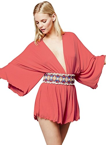 ACHICGIRL Women's Deep V Neck Batwing Sleeve Loose Solid Romper Watermelon Red