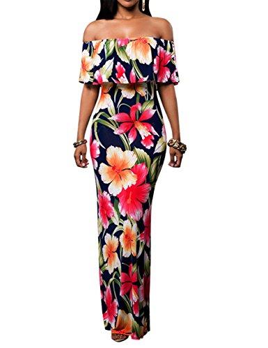 La Cabina Femme Sexy Maxi Robe Longue Bodycon Floral Epaule Nue pour Soirée Cocktail Bleu
