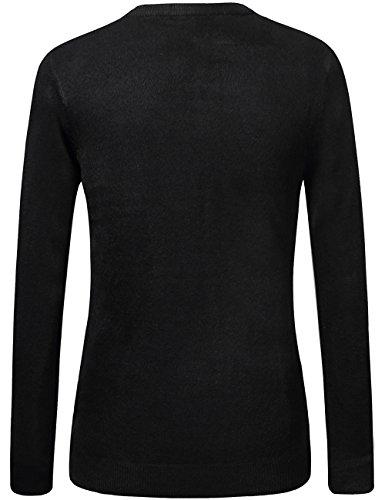 SSLR Herren Einfarbig Klassisch V Ausschnitt Solid Pullover Schwarz