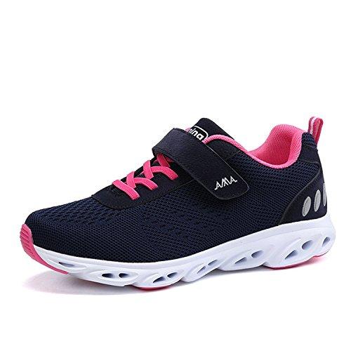 Super Lee Unisex Laufschuhe Sportschuhe mit Klettverschluss Outdoor Fitness Schuhe Hallenschuhe Leichte und Atmungsaktive für Herren Damen, Blau Rot, 40 EU