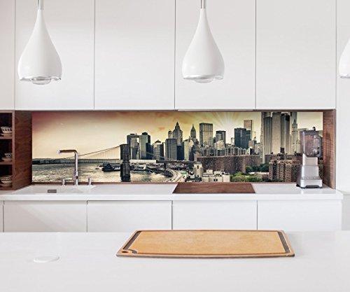Aufkleber Küchenrückwand Skyline Manhattan New York City USA Folie selbstklebend Dekofolie Fliesen Möbelfolie Spritzschutz 22A995, Höhe x Länge:60cm x 300cm