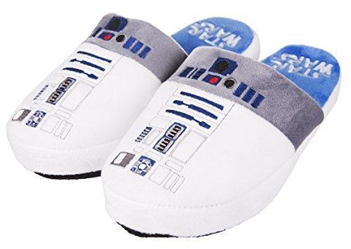 Ufficiale Disney Star Wars Nuovo suola antiscivolo Uomo R2D2 Droidi Ciabatte - Bianco, Medium