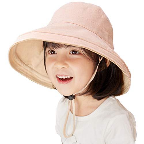 Lachi Sombrero de Sol Niña Gorra de Sol Chica Gorro de Playa Niñas Anti UV Reversible Doble Cara Protección Solar Alas Anchas Transpirable para Viaje Beach Piscina al Aire Libre 3-7 años.