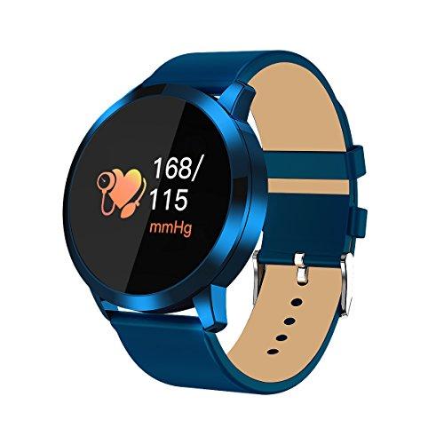 RanGuo Bluetooth Smartwatch für Herren Damen Kinder, Outdoor Sports Intelligente Armbanduhr für Android und ios System, Support-Anruferinnerung und Nachrichtenerinnerung (Lederband, Blau)