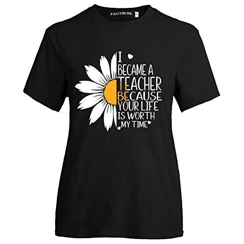Queenromen Damen Lehrertag Teachers' Day Lehrer T-Shirt Sunflower Sonnenblume Graduation Gift Teacher Award Sommer Tops(XL Schwarz02)
