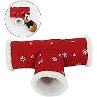 UEETEK Juguete de túnel de Navidad para mascota pequeña, Juguete de juego de 3 vías, Tubo de lana polar de invierno de invierno Canal de juego de cama de escondite para Hamster / Gerbil Rata / Conejillo de indias