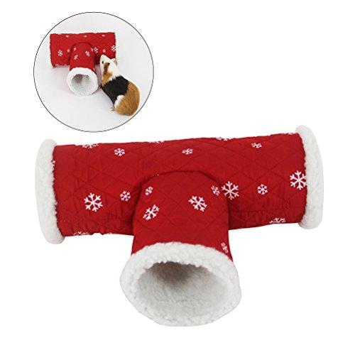 UEETEK Giocattolo di galleria di Natale per piccoli animali da compagnia, giocattolo a 3 vie, cane da canottaggio per cani da compagnia per cani da compagnia per criceti / greggi di razza / guinea pig
