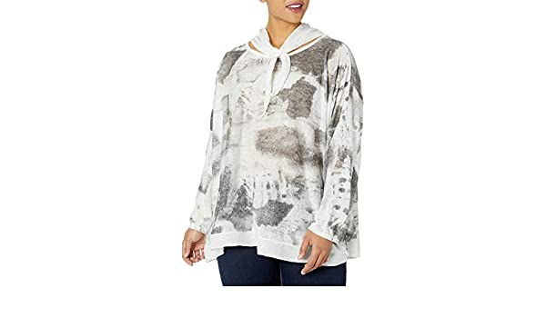 M Made in Italy Womens Plus Size Abstract Printed Scarfed Neck Tunic