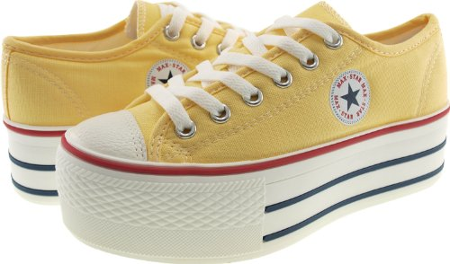 Maxstar C50 6 trous plate-forme basse table Trendy Chaussures-baskets Jaune - jaune