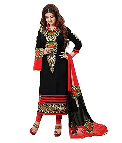 Designer Black Colour Partywear Unstitched Dress Material With Embroidered Work MFD-10