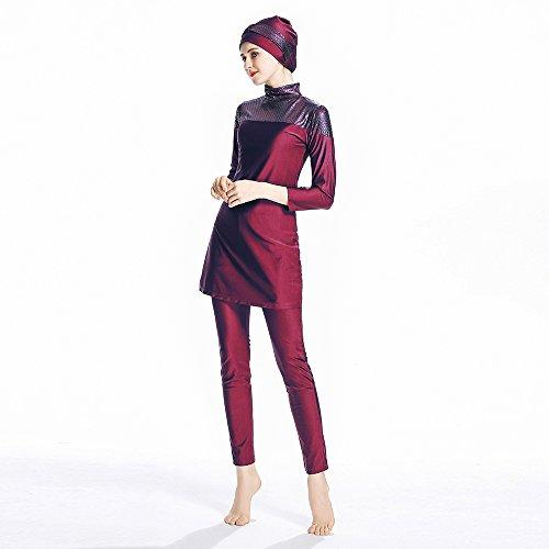 ziyimaoyi konservative Muslimische Bademode Islamischer Badeanzug Frauen Hijab Bademode volle Abdeckung Bademode Muslim SurfBeachwear Badeanzug, rot, M - 4
