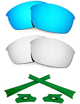HKUCO For Oakley Flak Jacket Blue/Silver Polarized Replacement Lenses And Green Earsocks Rubber Kit