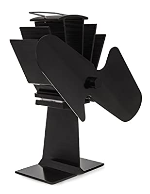 LIVIVO ® Wood Stove Fan – Premium Black 2 Blade Heat Powered Eco Friendly Warm Air Diffuser for Fire Place or Wood Log Burner - Quiet Operation – Compact Size – No Installation Required by LIVIVO