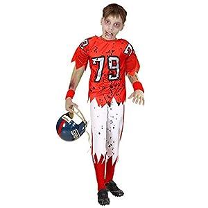 WIDMANN 03159 - Disfraz infantil de zombi con jugador de fútbol americano, para niño, 164 cm, color rojo y blanco