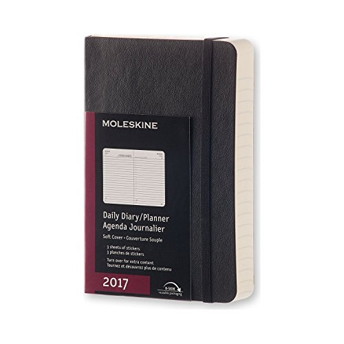 Moleskine 2017 Daily Planner, 12m, Pocket, Black, Soft Cover (3.5 X 5.5)