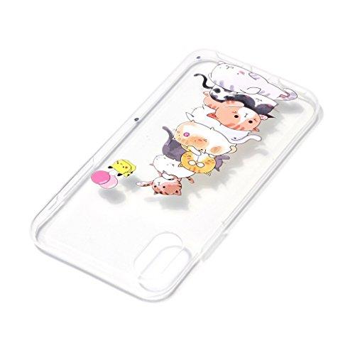 "Coque pour Apple iPhone X , IJIA Transparent Rose Papillon Ours TPU Doux Silicone Bumper Case Cover Shell Housse Etui pour Apple iPhone X (5.8"") XY15"