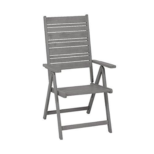 greemotion Chaise de Jardin Maui en Bois d'Acacia 100% FSC avec Dossier Haut, d'Exterieur, Pliable, Siège de Jardin, 59 x 109 x 69 cm, Gris